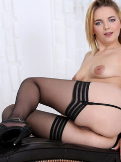Jessica Spielberg teasing in sexy black stockings
