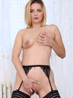 Blonde mature lady Jessica Spielberg teasing in sexy black stockings #15