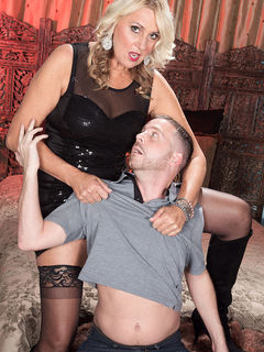 Mom Dallas Matthews in stockings getting licked and fucking her toy boy #05