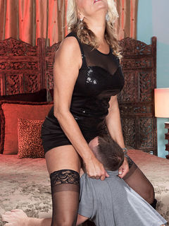 Mom Dallas Matthews in stockings getting licked and fucking her toy boy #09