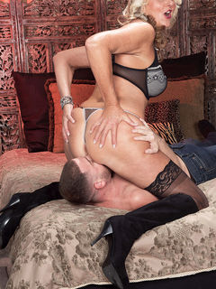 Mom Dallas Matthews in stockings getting licked and fucking her toy boy #10
