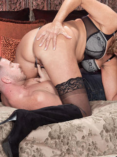 Mom Dallas Matthews in stockings getting licked and fucking her toy boy #11