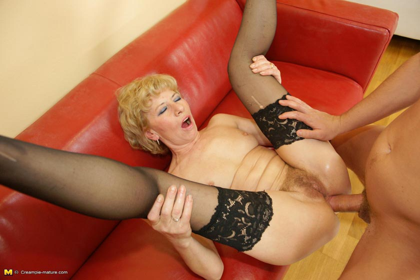 Blonde mature small tit