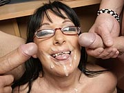 Gorgeous mature teacher gets two cocks