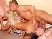 One dude fucking three mature sluts