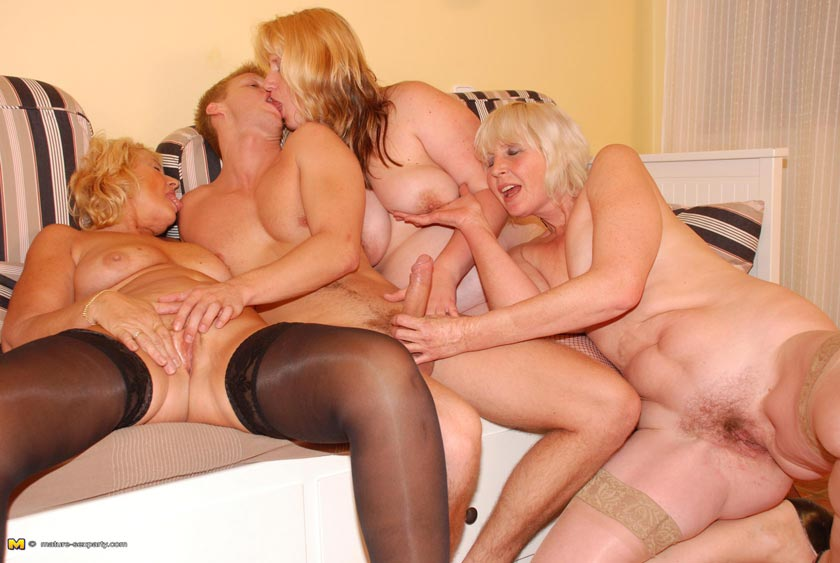 Wild mature orgy in living room with big dick studs 6