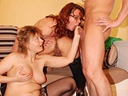 Three mature sluts banging one guy